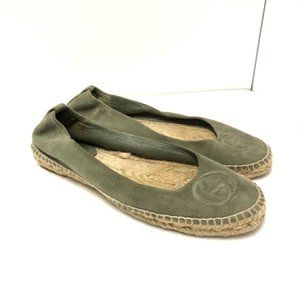 GUCCI Espadrille Flats Green Suede Size 8